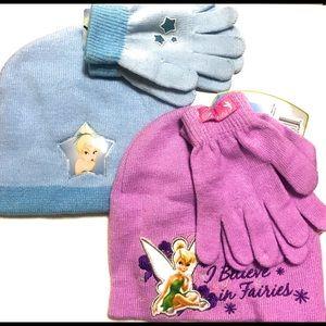 Disney Tinkerbell girls weather set hat & gloves